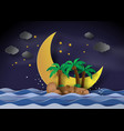 the island in the midnight with half moonpaper vector image vector image