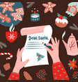 tho female hands writhd a letter to santa claus vector image vector image