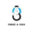 three number icon and light bulb abstract logo vector image