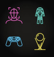 virtual reality concept icon set in neon line vector image vector image