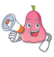with megaphone rose apple character cartoon vector image vector image