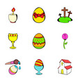happy easter icons set cartoon style vector image