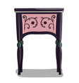 a wooden bedside table with dark blue and purple vector image vector image