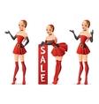 Beautiful girls in Santa costume in different vector image