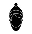beautiful woman head with winter clothes vector image