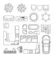 black and white furniture set vector image
