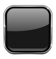 black square button shiny 3d icon with metal vector image