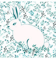 blue and white rabbit on flower background vector image