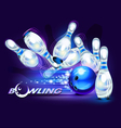 Bowling game blue vector image vector image