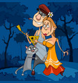 cartoon couple in love with a cat in night vector image