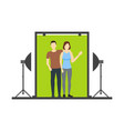 cartoon lover couple photo studio scene vector image vector image