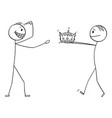 cartoon man giving crown king to confident vector image