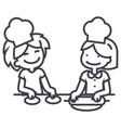 children cooking line icon sign vector image vector image
