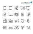 communication device line icons editable stroke vector image vector image