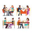 couples table man woman having coffee and dinner vector image