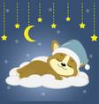 cute puppy corgi in a green hat sleeping sleep on vector image vector image