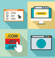 domain icons set flat style vector image