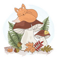 dreaming fox cartoon forest animal vector image vector image