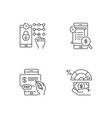 e banking service linear icons set