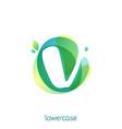ecology lowercase letter v logo overlapping vector image vector image