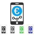 euro mobile market monitoring flat icon vector image