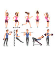 fitness people cartoon characters set vector image vector image