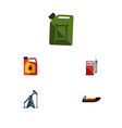 flat icon fuel set of fuel canister petrol rig vector image vector image