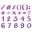font design for numbers in pink and purple color vector image vector image