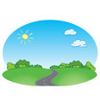 green landscape with road and blue sky vector image