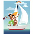 Happy sailors vector image vector image