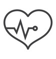 heart pulse line icon fitness and sport vector image vector image