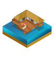 isometric bungalow summer house wooden villa vector image vector image