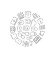 line blog icons in circle shape vector image vector image