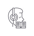 listening to music and reading line icon concept vector image vector image