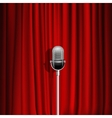 Microphone And Red Curtain Background vector image vector image