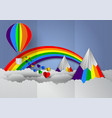 paper cut heart shape with rainbow and balloons vector image vector image