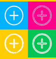 positive symbol plus sign four styles of icon on vector image vector image
