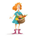 pretty woman with basket full vector image