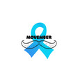 prostate cancer with moustache and light blue vector image vector image