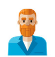 red hair man flat icon avatar vector image vector image