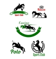 Riding club horse racing and polo game design vector image vector image