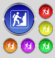 rock climbing icon sign Round symbol on bright vector image