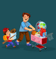 school shopping with dad poster vector image