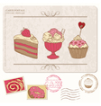 set cupcakes on old postcard vector image