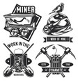 set miner emblems labels badges logos vector image vector image