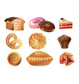 set of baked goods with different types of bread vector image