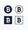 set of black and white bitcoins symbol vector image