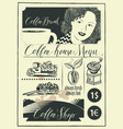 set of design elements on coffee theme with girl vector image vector image