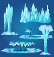 set of frozen streams and splashes of water vector image vector image
