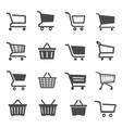 shopping cart black and white glyph icons set vector image